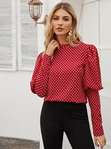 Polka Dot Leg-of-mutton Blouse