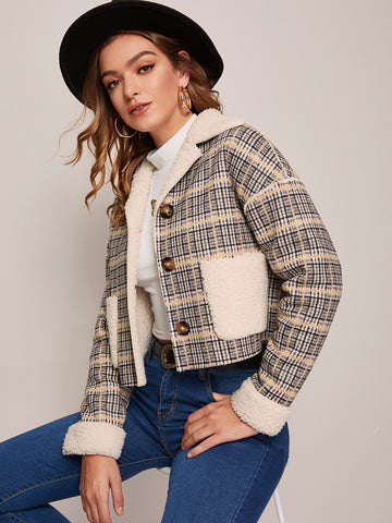 Single Breasted Teddy Lined Plaid Jacket