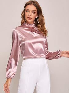 Frilled Neck Bishop Sleeve Satin Top