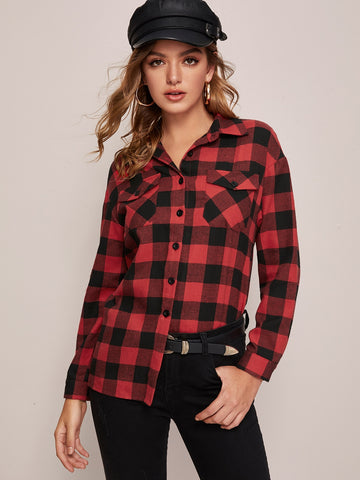 Single Breasted Flap Pocket Buffalo Plaid Blouse