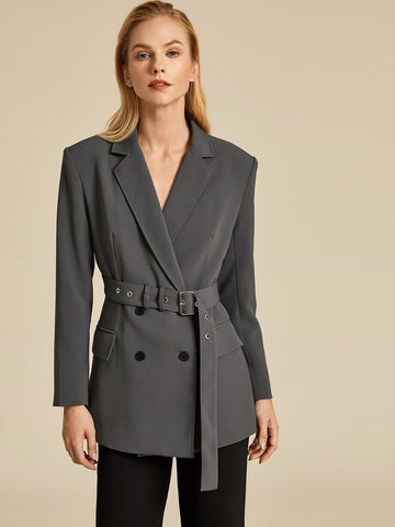 Double Button Adjustable Belt Longline Blazer