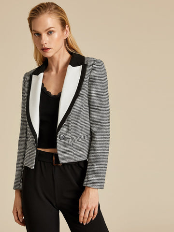 Peak Collar Houndstooth Tweed Blazer