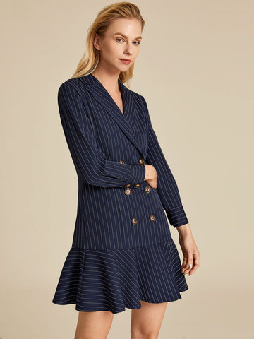 Double Breasted Ruffle Hem Striped Blazer Dress