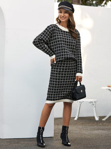 Drop Shoulder Plaid Sweater & Midi Sweater Skirt