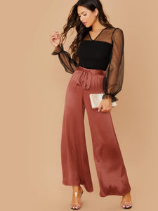Elastic Waist Tie Wide Leg Satin Pants