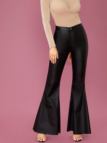 Flared Wide Leg Faux Leather Pants