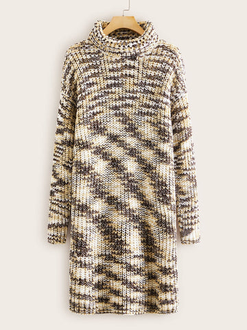 High Neck Drop Shoulder Space Dye Sweater Dress