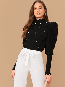 Scallop Mock Neck Pearls Beaded Gigot Sleeve Top