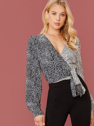 Two Tone Allover Print Wrap Top