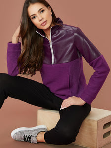 Zip Half Placket Mixed Media Sweatshirt
