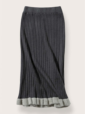Ruffle Hem Ribbed Knit Sweater Skirt