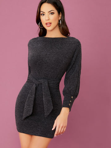 Boat Neck Waist Tie Long Sleeve Sweater Dress