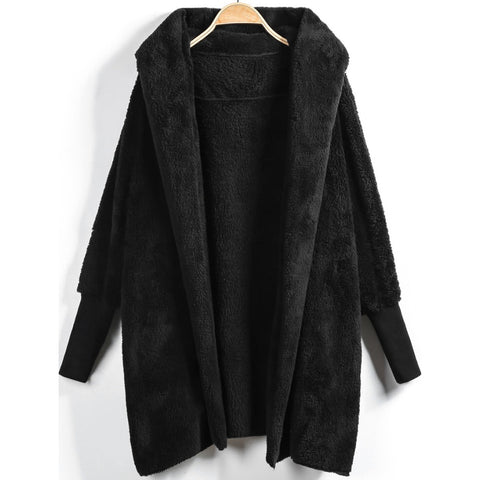 Hooded Open Front Fluffy Coat Black
