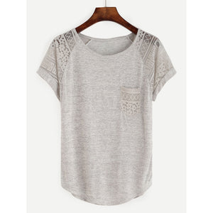 Contrast Lace Raglan Sleeve Tee Grey Casual