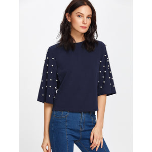 Pearl Embellished Fluted Sleeve Tee Navy