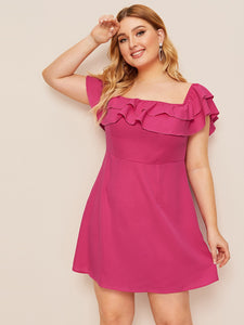 Plus Zip Back Ruffle Dress