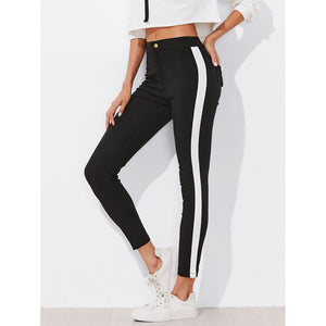 Contrast Panel Side Skinny Ankle Jeans