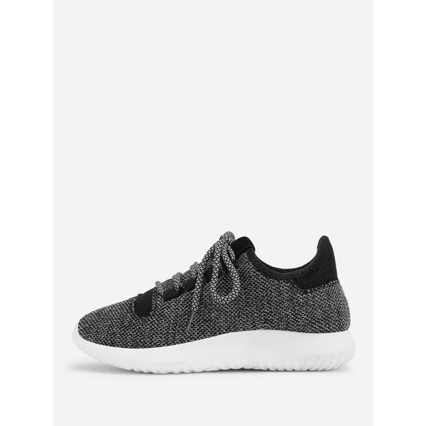 Lace Up Slip On Sneakers BLACK - Anabella's