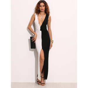 Two Tone Plunge Neckline Twist Front Slit Maxi Dress