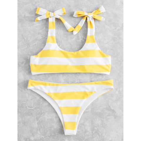 Knot Striped Bikini Set YELLOW