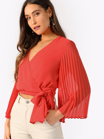 Pleated Sleeve Surplice Knot Blouse