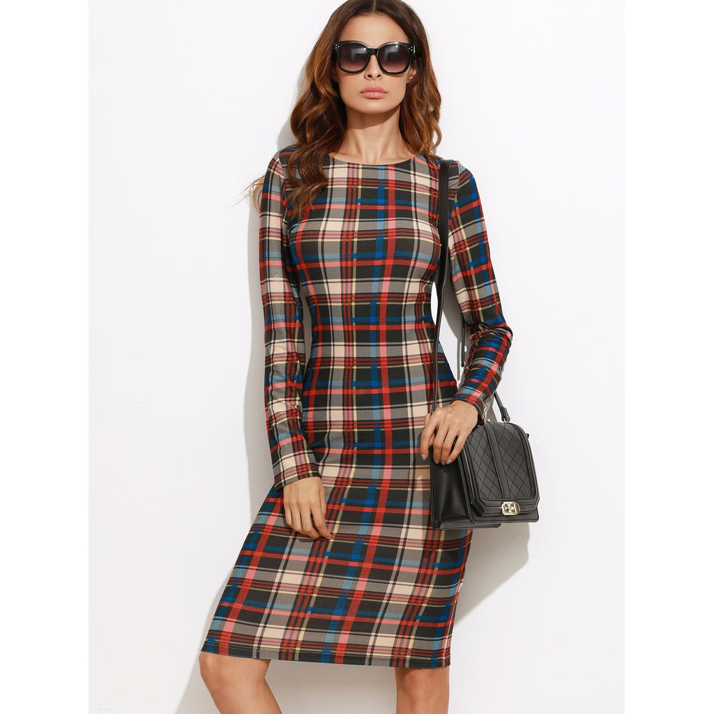 Multicolor Plaid Pencil Dress