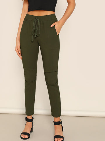 Knot Waist Slant Pocket Pants