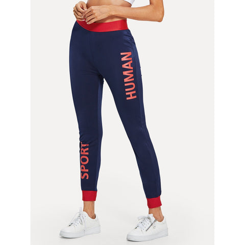 Contrast Trim Letter Print Leggings