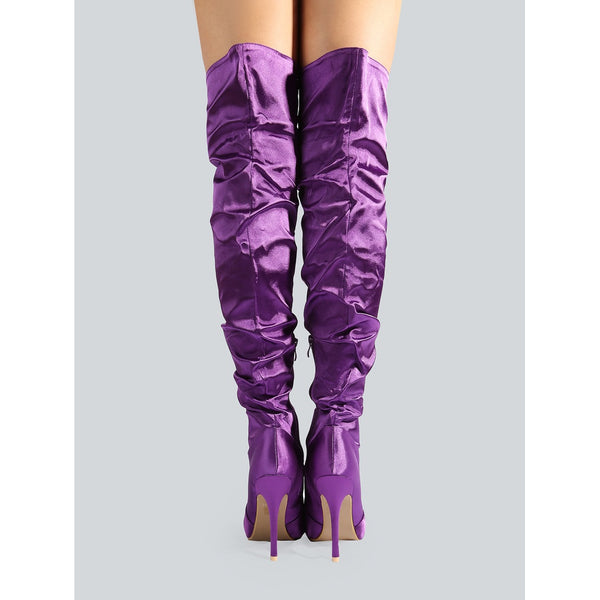 Closed Toe Satin Thigh High Boots PURPLE - Anabella's