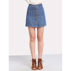 Button Front Denim Skirt Blue