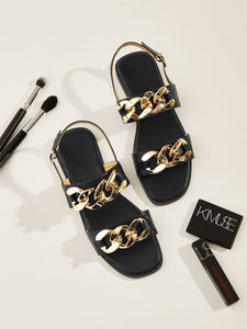 Chain Decor Open Toe Slingback Sandals