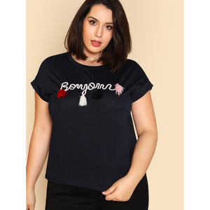 Tassel Detail Embroidered T-shirt NAVY - Anabella's