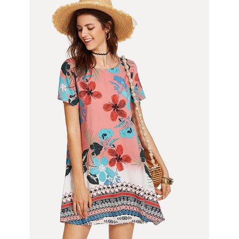 Geo & Flower Print Swing Dress