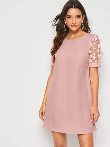Solid Applique Patch Mesh Sleeve Tunic Dress