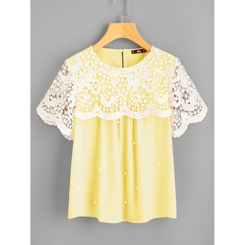 Guipure Lace Overlap Pearl Beading Top Yellow