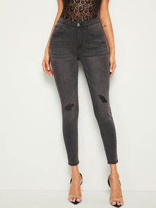 Ripped Detail Crop Skinny Jeans