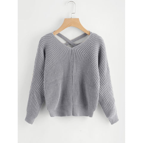 Criss Cross V Back Chunky Knit Sweater