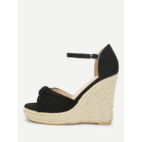 Knot Espadrille Wedge Sandals
