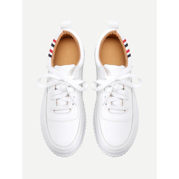 Striped Detail Lace Up Sneakers - Anabella's