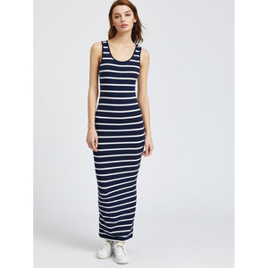 Scoop Neckline Stripe Pencil Tank Dress