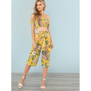 Floral Print Bardot Crop Top & Skirt Set