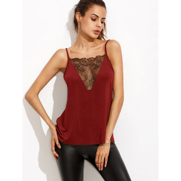 Lace Insert Strappy Back Cami Top BURGUNDY - Anabella's