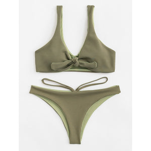 Knot Front Bikini Set ARMY GREEN
