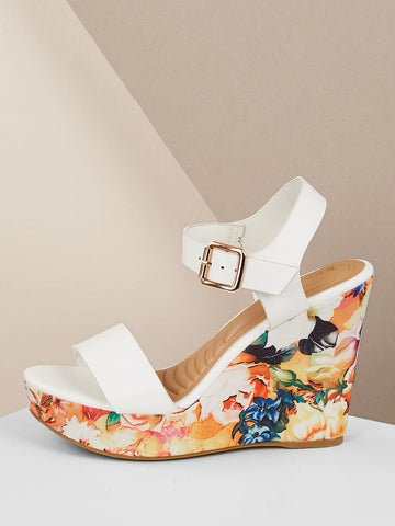 Solid Band Buckled Strap Floral Wedge Sandals