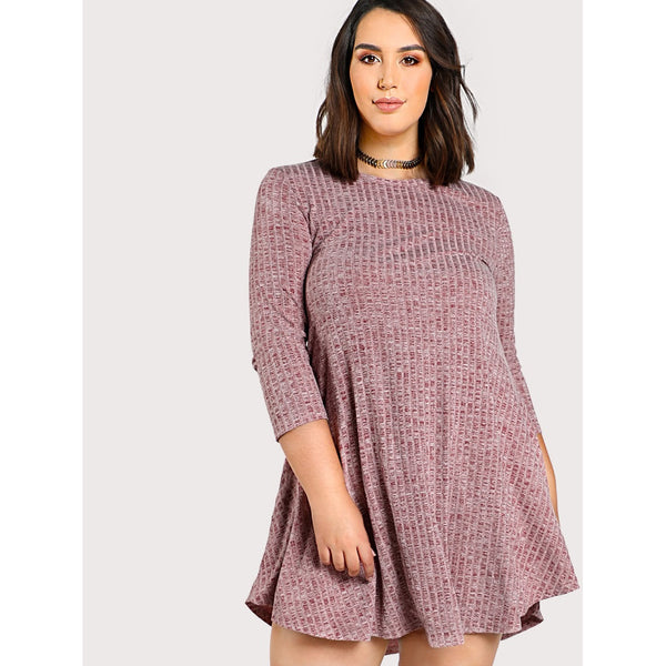 Marled Rib Knit Swing Tee Dress - Anabella's