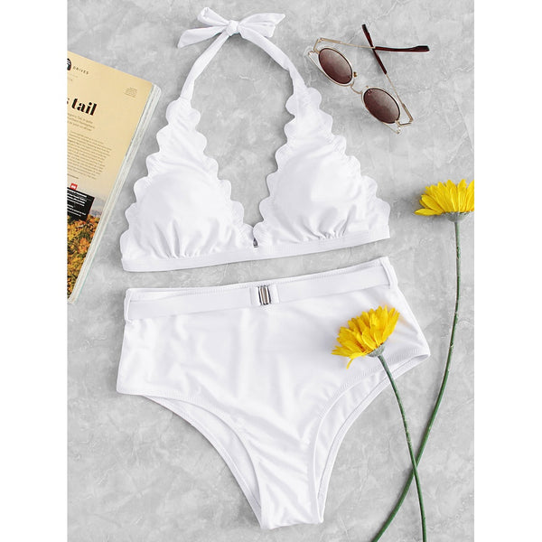 Scallop Edge Triangle Bikini Set WHITE