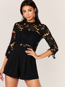 Fold Pleat Front Lace Bodice Romper Without Bandeau