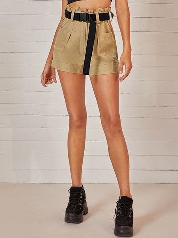 Solid Belted Pocket Front Roll Up Hem Shorts