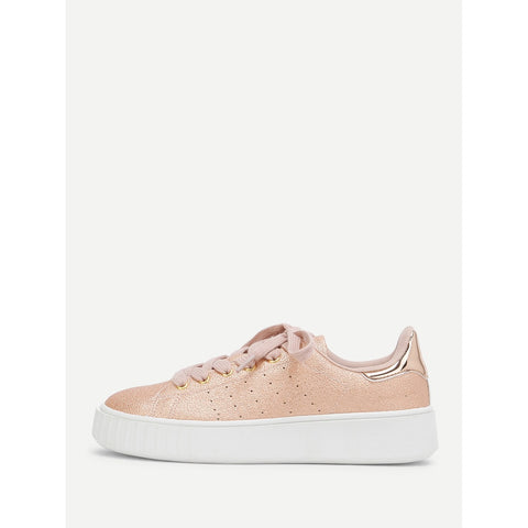 Metallic Lace Up Trainers Pink