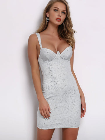 Joyfunear Rhinestone Detail Bodycon Slip Dress